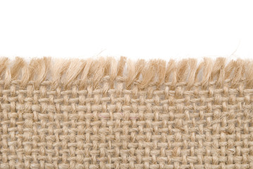 close up view of sackcloth material isolated on white
