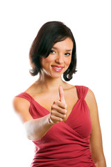 smiling happy woman with thumb up isolated on white