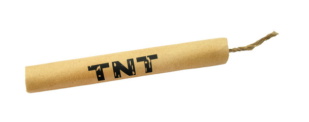 Dynamite stick TNT with wick isolated on white