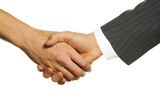 boss and employee shaking hands poster