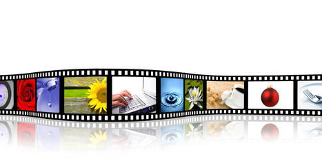 colorful wavy film strip with reflection