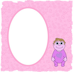 Pink Girls Cartoon Oval Frame - With Isolated Clipping Path