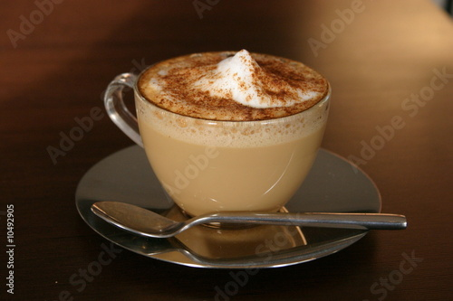 cappuccino cup with cinnamon
