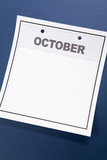 Blank Calendar, October, with blue background poster