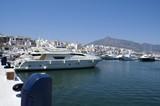 luxury power boat. motor boat. cruiser in marbella, spain poster