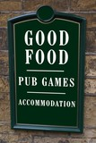 sign of a place with restaurant, pub, & accommodation poster