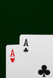 two ace,s on green felt poster