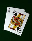 blackjack on green felt poster