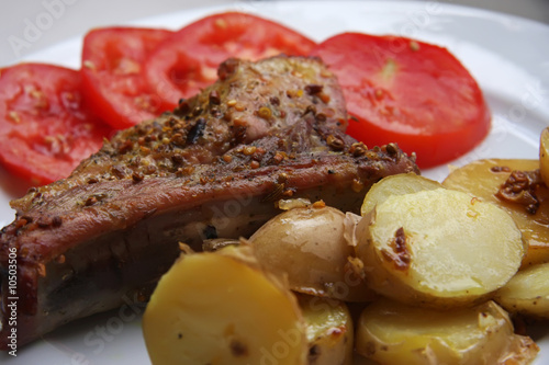 Marinaded cooked pork chop, prepared meat meal