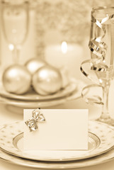 Celebration dinner setting with antique toning