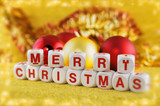 Merry Christmas spelled out on wooden blocks poster