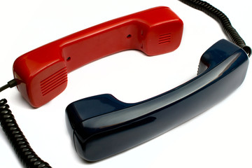 Pair communicating telephone tube  on a white background