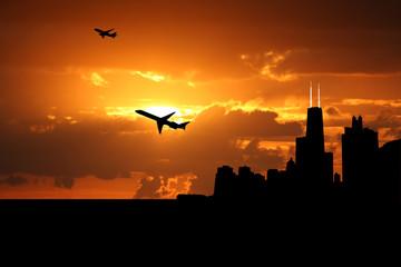plane departing Chicago at sunset illustration