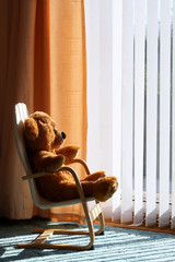 Childrens toy teddy bear relaxing in the sun