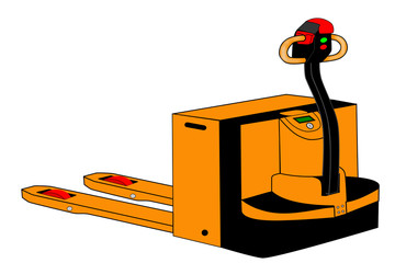 A Isolated yellow electric palletjack illustration