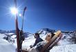 Mann und Frau, Entspannung in den Alpen