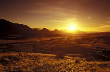 Südafrika, Sonnenuntergang in Bergen Trapsumtjies