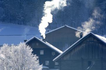 Österreich, Salzburger Land, Bauernhäuser in einem Bergdorf