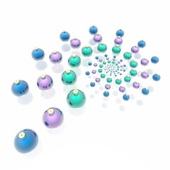 Glamour christmas spheres of green, lilac and blue color
