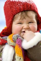 Baby Mädchen, tragen Mütze, lächeln, close-up