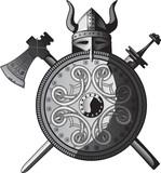 Helmet, sword, axe and Shield of Vikings poster
