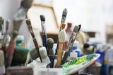 France, Paris, Brushes in artist´s studio