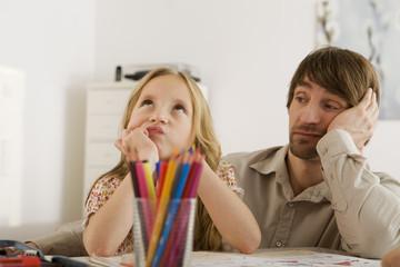Vater und Tochter Hausaufgaben