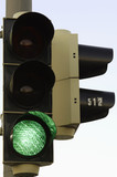 Traffic light signaling green, close up