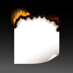 A piece of burning paper with jagged edges