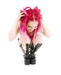 picture of bizarre pink hair girl in high boots