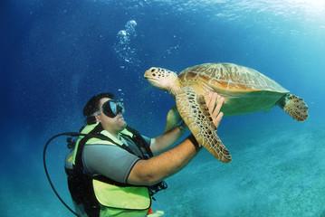 Philippinen, Taucher mit Schildkröte, Unterwasser-Ansicht