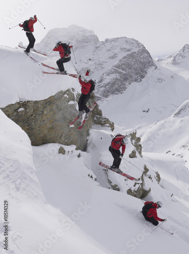 Switzerland, St. Moritz, skier jumping, multiple exposure