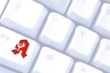 Pharmacy sign on keyboard