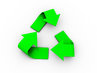3d illustration of recycle logo on white background