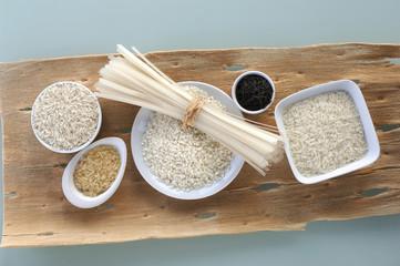 Sorten von Reis und Reisnudeln, Draufsicht