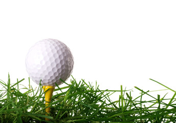 Golf Ball on Tee in Grass Isolated on White Background