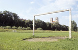 Germany, Bavaria, Munich, old goal on pitch