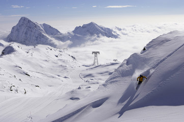 Italien, Gressoney, skiier