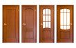 Leinwandbild Motiv set of wooden doors isolated on white