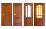 set of wooden doors isolated on white