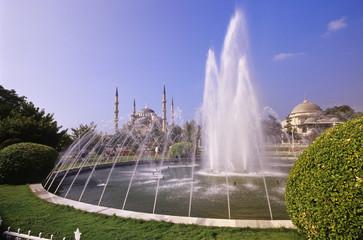 Brunnen mit der Blauen Moschee, Istanbul, Türkei