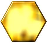 3d golden hexagon poster