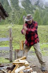 Österreich, Mann beim Holzhacken