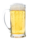 light beer glass with foam, isolated on white poster