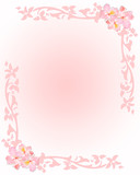 Pink stationery with flowers and floral elements poster