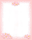 Pink and whiter stationery with flowers and floral elements poster