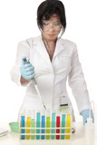 A woman with a fixed volume pipette and a rack of test tubes. poster