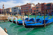 beautiful gondolas anchored in Venice, Italy - 10526595