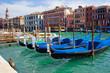 beautiful gondolas anchored in Venice, Italy