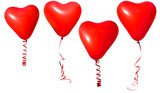 Red valentine heart balloons on white background
